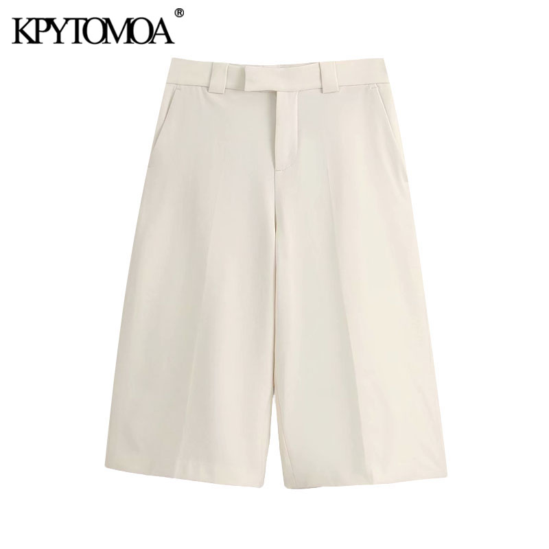 KPYTOMOA Women 2020 Chic Fashion Side Pockets Straight Shorts Vintage High Waist Zipper Fly Female Short Pants Pantalones Cortos