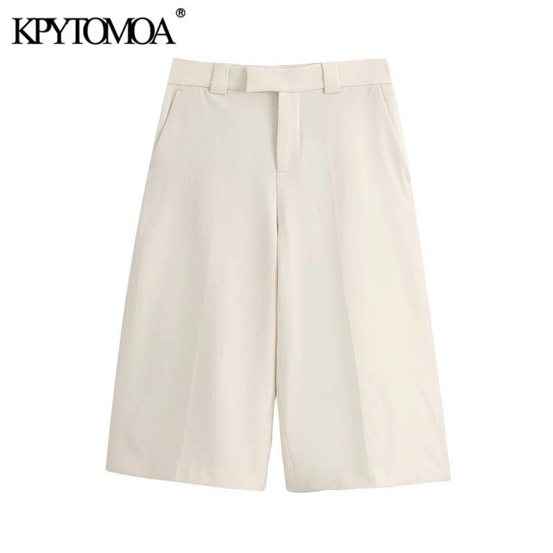 KPYTOMOA Women 2020 Chic Fashion Side Pockets Straight Shorts Vintage High Waist Zipper Fly Female Short Pants Pantalones Cortos