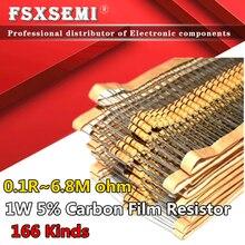 100pcs 1W 5% Resistor de Filme de Carbono 0.1R ~ 1M 1R 2.2R 10R 22R 47R 51R 100R 150R 470R 47 10 1K 4.7K K K 1 2.2 10 22 47 51 100 150 470