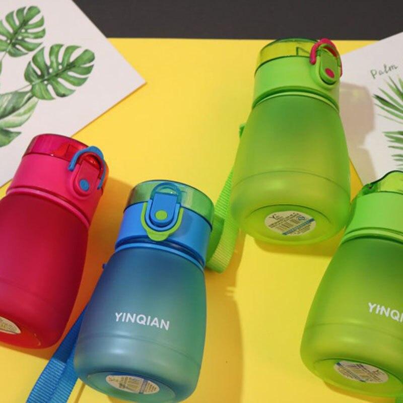 Cute Kids Children Cartoon School Drinking Water Straw Bottle Straw Baby Cup With Shoulder Strap Training Cup