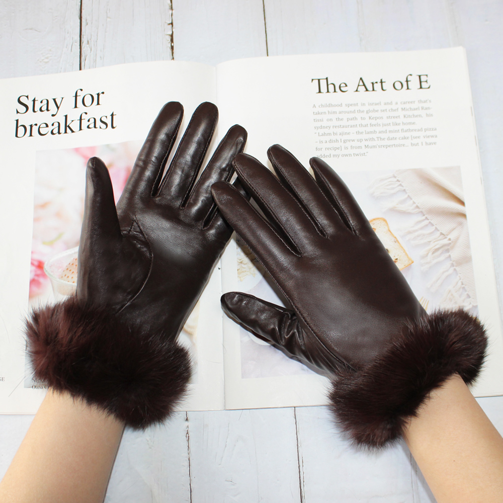 New Women's Sheepskin Material Rabbit Fur Mouth Fashion Fleece Lining Warm and Winter Brown Gloves in Autumn and Winter