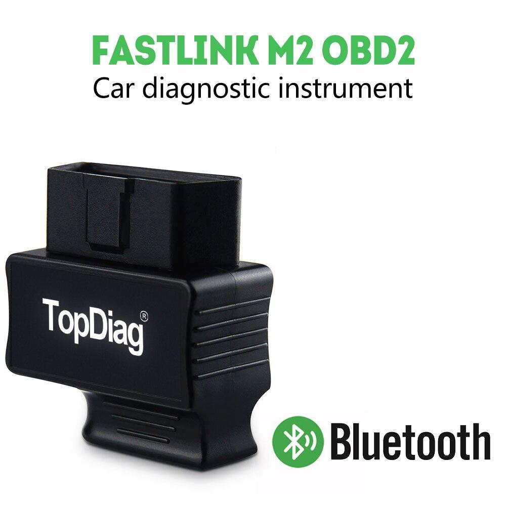 TopDiag FasLink M2 OBD2 Scanner Bluetooth 4.0 Car Diagnostic Tool Read & Clear Code Freeze Frame O2 Sensor Smog Check ELM327