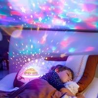 Proyector de luz LED de cielo estrellado de en forma de OVNI, lámpara LED de noche para dormitorio de niños, USB, Estrella intermitente de colores, regalos para bebé para niños