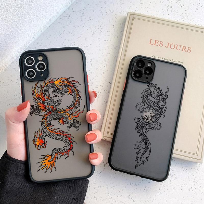 Black Dragon Phone Case For iPhone 11 7 8 Plus X XR XS 12 Pro MAX 6 S Plus SE 2020 Fashion Animal Hard PC Back Cover Funda Shell