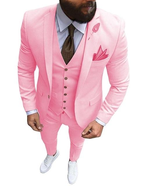 New Pink Men 3 Pieces Suit Formal Business Notch Lapel Slim Fit Tuxedos Wedding Groomsmen Red Yellow Blazer (jacket+vest+Pants)