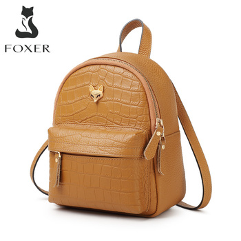 FOXER Genuiune Leather Lady vintage Backpack Cowhide Commuter Women Soft Travel Bag High Quality Female Tote Girl Mini Backpack