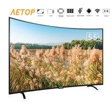 Tv inteligente 4k hd de 55 pulgadas con control remoto, televisión led curvada con control remoto, android, envío gratis