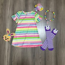 spring/summer baby girls outfits dress stripe bunny cotton milk silk clothes knee length match socks bow necklace and purse