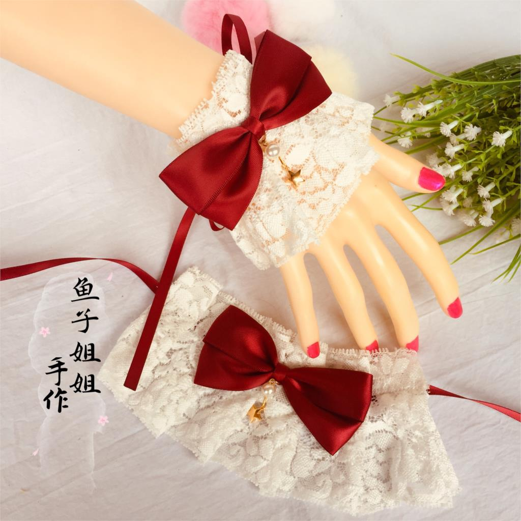 Lolita Hand Cuff Versatile Lace Bow SOFT Girl Bracelets Lolita Hand Made Small Accessories