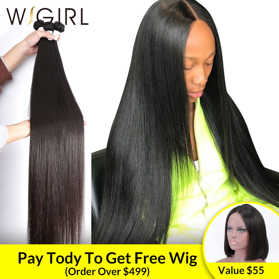 Wigirl 8 - 28 30 32 40 Inch Long Remy Indian Human Hair Weave Straight 1 3 4 5 Bundles Deal Super Double Drawn Natural Vendors