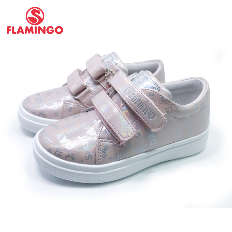 FLAMINGO 2020 Print Spring Genuine Leather Breathable Hook& Loop Outdoor Sneakers For Girl Size 27-33 Free Shipping 201P-FD-1858