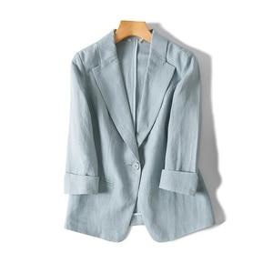Image 3 - Women Linen Blazers Solid 3/4 Sleeved Single Button Office Lady Blazer 2019 NEW Fall Winter Out wear