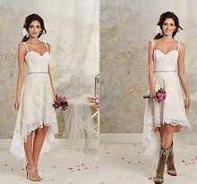 Vintage Spaghetti Lace High Low Wedding Dresses White Ivory Short Beach Bridal Gowns Custom Made