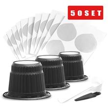 ICafilas 50 juegos de tapas de aluminio desechables para Nespresso, sellos adhesivos para cápsulas Nespresso, café propio, DIY