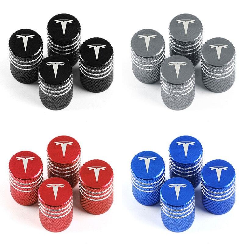 Tapa de vástago de válvula de coche de aluminio Multicolor de 4 uds, tapa de vástago de válvula de rueda, cubierta de polvo para TESLA MODEL 3 X S accesorios