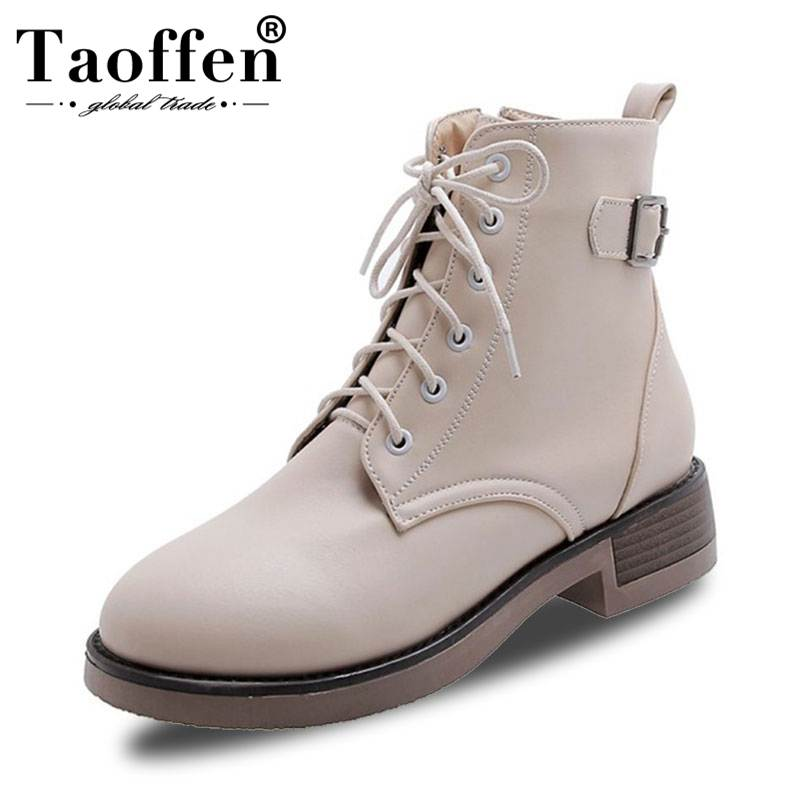 TAOFFEN Womens Booties Boots Lace Up Shoes