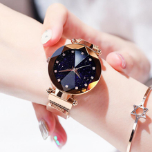 цена на Popular Women Watches Fashion Elegant Magnet Buckle Mysterious Purple Lady Wristwatches Starry Sky Gift Clock Dropshipping
