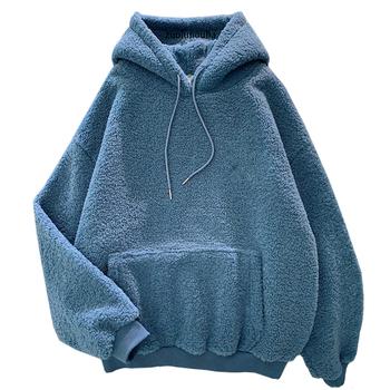 Nowa jesienno-zimowa gruby ciepły płaszcz aksamitna kaszmirowa damska bluza z kapturem jednolity niebieski sweter Casual topy Lady luźna z długim rękawem tanie i dobre opinie zuolunouba Poliester Mikrofibra Mieszanka bawełny CN (pochodzenie) Zima Bluzy REGULAR Pełna Grube Wełniane wy0512 Swetry