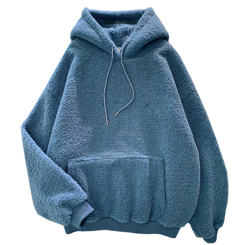 New Autumn Winter Thick Warm Coat Velvet Cashmere Women Hoody Sweatshirt Solid Blue Pullover Casual Tops Lady Loose Long Sleeve