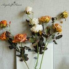 Bouquet de roses artificielles brûlées à sec, Bouquet de pivoines en soie, pour Table de maison, jardin, mariage, fournitures d'anniversaire et de noël, 74cm, 3 têtes