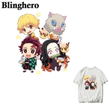 CA990 Demon Slayer iron on heat transfers cartoon Anime stickers patches for clothes t-shirts