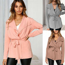 Goocheer Autumn New High Street Womens Long Sleeve Suits Belted Jacket Ladies Short Coat Cardigan Tops
