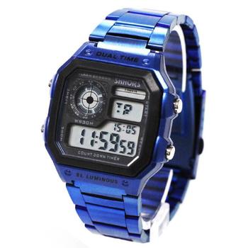 Luksusowe modne niebieskie zegarki męskie LED cyfrowe zegarki męskie zegarki sportowe Shhors wielofunkcyjne elektroniczne zegarki na rękę reloj hombre tanie i dobre opinie WOONUN Stop 24cm 3Bar Cyfrowy Składane zapięcie z bezpieczeństwem Plac 18mm 13mm Hardlex Odporny na wstrząsy Wyświetlacz LED