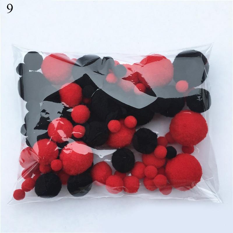 8mm To 30mm 20g Multi Size Mix Colors Pompom Fur Craft DIY Soft Pom Poms Balls Wedding Decoration Glue on Cloth Accessories