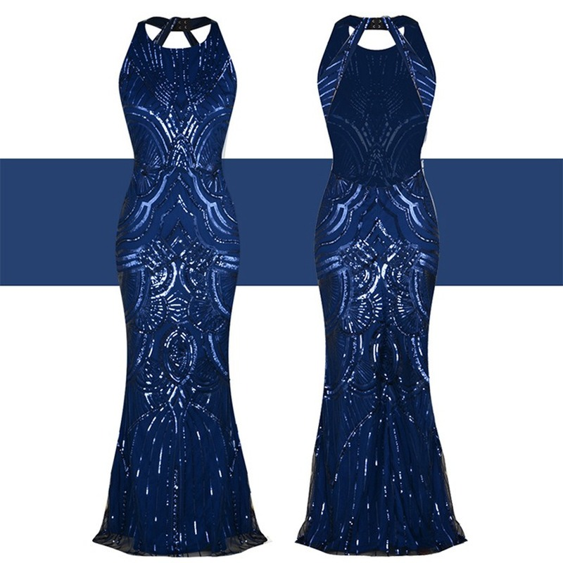 Femmes 1920s Great Gatsby robe longue 20s clapet robe Vintage O cou sans manches dos nu Maxi robe de soirée pour bal Cocktail