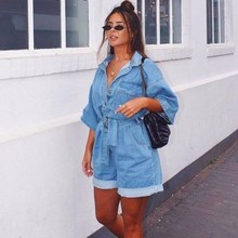 Solid Fashion Rompers Jumpsuits Sashes Bodycon Jeans Denim Overalls For Women Jumpsuit Outerwear Casual