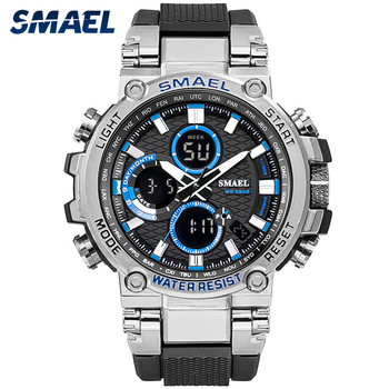 SMAEL 1803 Sport Watch Men Watches Waterproof 5Bar Dual Time Mens Military Shock Resistant Alarm Clock montre homme