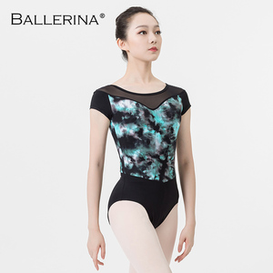 Image 3 - ballet dance leotard for women Practice adulto gymnastics mesh short sleeve printing leotard Ballerina 3546
