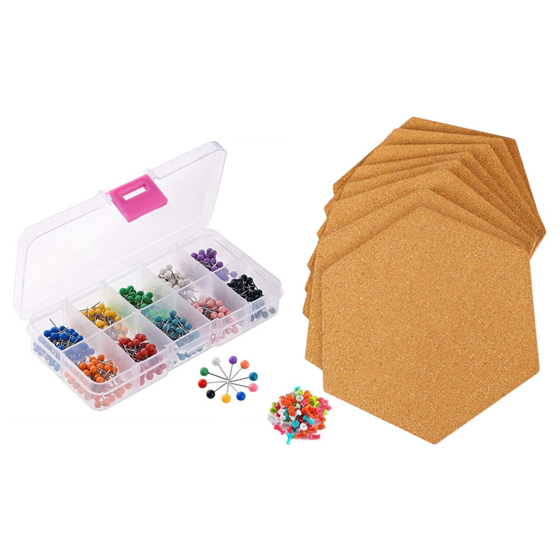 500x 1/8 Inch Map Push Pins, Map Tacks with 10 Assorted Colors & 8Pcs Hexagon Self Adhesive Cork Tiles with 50 Push Pins