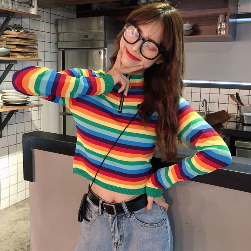 Women Sweaters Korean Style Rainbow Stripes Print Sweater Slim Long Sleeved Half-high Collar Slim Bottom Knit Sweater S1 New