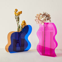 Nordic Rainbow Colorful Acrylic Vase Art Geometric Sunlight Sunrise Daybreak Vases for Home Decorations Desktop Decor
