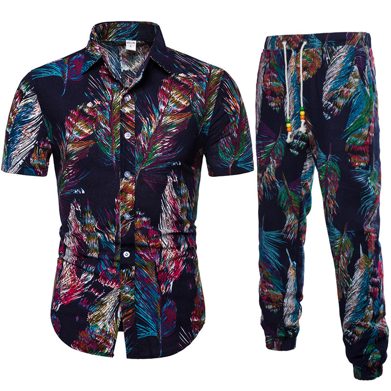 2019 Summer New Products MEN'S Short Sleeve Shirt Floral Shirt Set Ankle Banded Pants Beach Holiday Casual Two-Piece Set