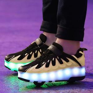 Image 1 - 黒ピンクグレー usb 充電ファッション led ライトローラースケート靴子供のためのスニーカーとホイールホイール