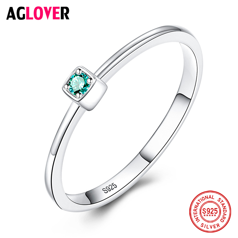 AGLOVER Classic New 925 Sterling Silver Green Zircon Ring For Women Exquisite Small Ring Party Birthday Jewelry Gift Wholesale