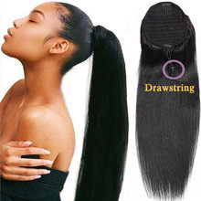 Straight Ponytail Human Hair Brazilian Ponytail Hair For Women Clip In Ponytails Black Blow Out Human Hair Extensions Non-Remy(China)