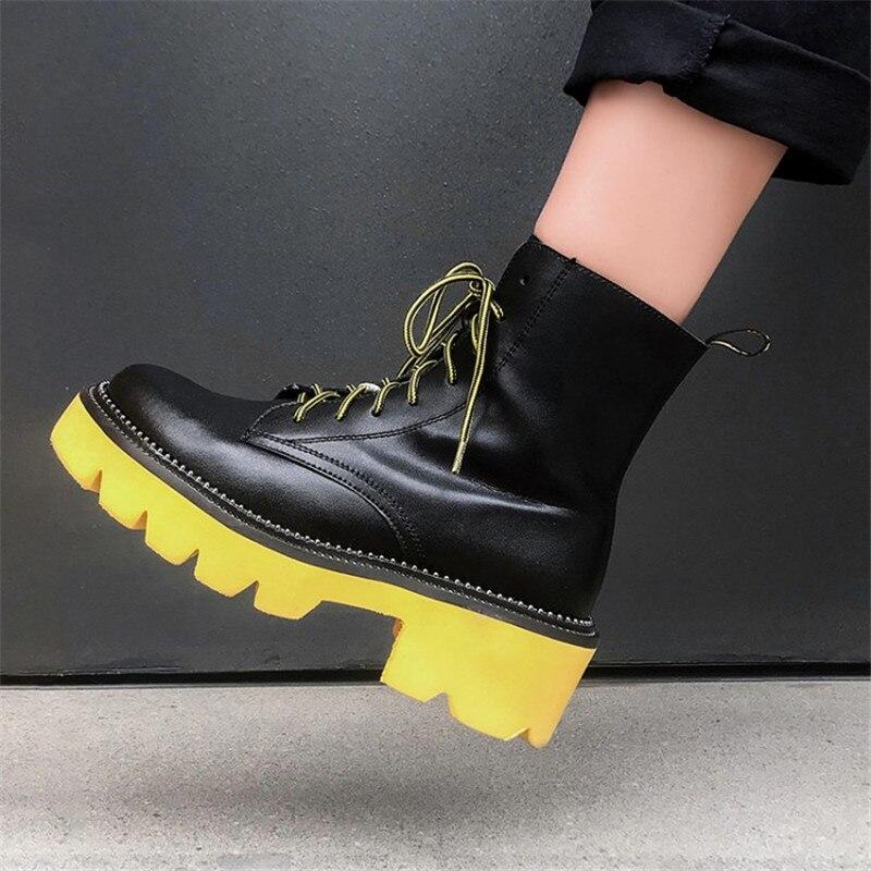 Prova Perfetto Feminino das Mulheres Sapatos de Inverno Genuíno Laço De Couro Até Sapatos Ankle Boots Plana Do Punk Mais Equitação Botines Mujer 2019