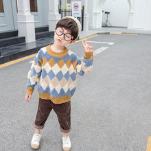 Toddler Boys Rhombus Sweater 2019 Knitting for Kids Pullover Baby Knitted Clothes 2 3 4 5 6 7 Years Old Knit