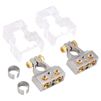 2PCS 0/4/8/10 Gauge AWG Car Battery Terminal Connectors with Spacer Shims Positive Negative Chrome Battery Terminals