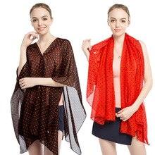 New wave point pearl buckle beach towel, printed chiffon summer female sun protection shawl