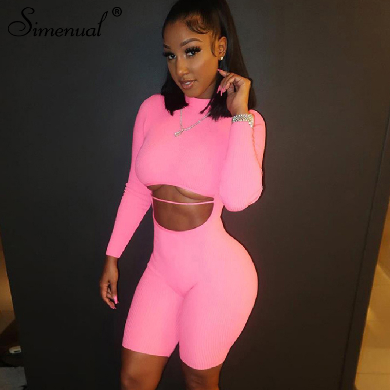Simenual Fitness Sporty Active Wear   Rompers   Womens Jumpsuit Long Sleeve Cut Out Backless Fashion Biker Playsuits Pink Autumn New