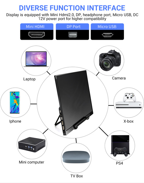 4K 15.6 Portable Monitor IPS LCD Screen 3840x2160 UHD for PC Computer Laptop Monitor Gaming Xbox Ps4 Display HDMI DP with case 4