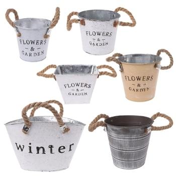 Decorative-Art Small Metal Plant Bucket