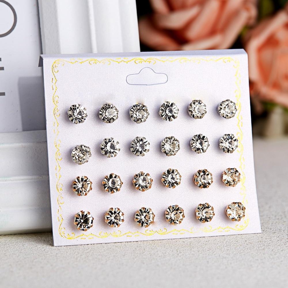 12 Pairs/set Stud Earrings Set With Card Transparent Zircon Balls Love Flowers Earrings Women Imulated Pearl Earrings Jewelry 59