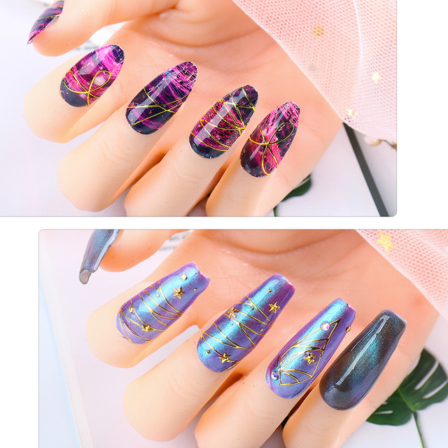 12pcs 5D Nail Sticker Decal Embossed Flower Nail Film Sliders Geometric Gold Line Manicure Nail Art Decoration Accesoires CH1788