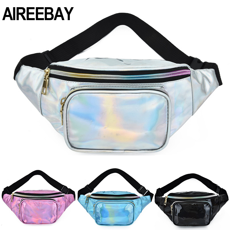 AIREEBAY New Holographic Waist Bag For Women Laser Silver Fanny Pack Female Belt Hip Bag Pink Bum Bag Hologram Waist Pack