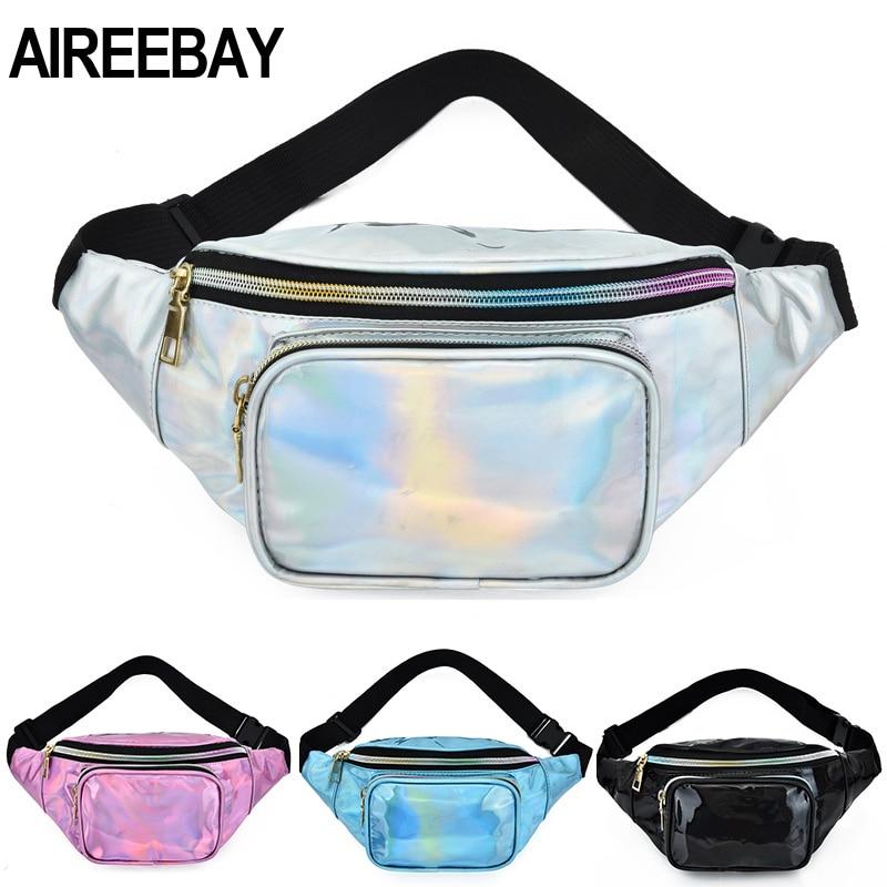 AIREEBAY New Holographic Waist Bag For Women Laser Silver Fanny Pack Female Belt Hip Bag Pink Bum Bag Hologram Waist Pack